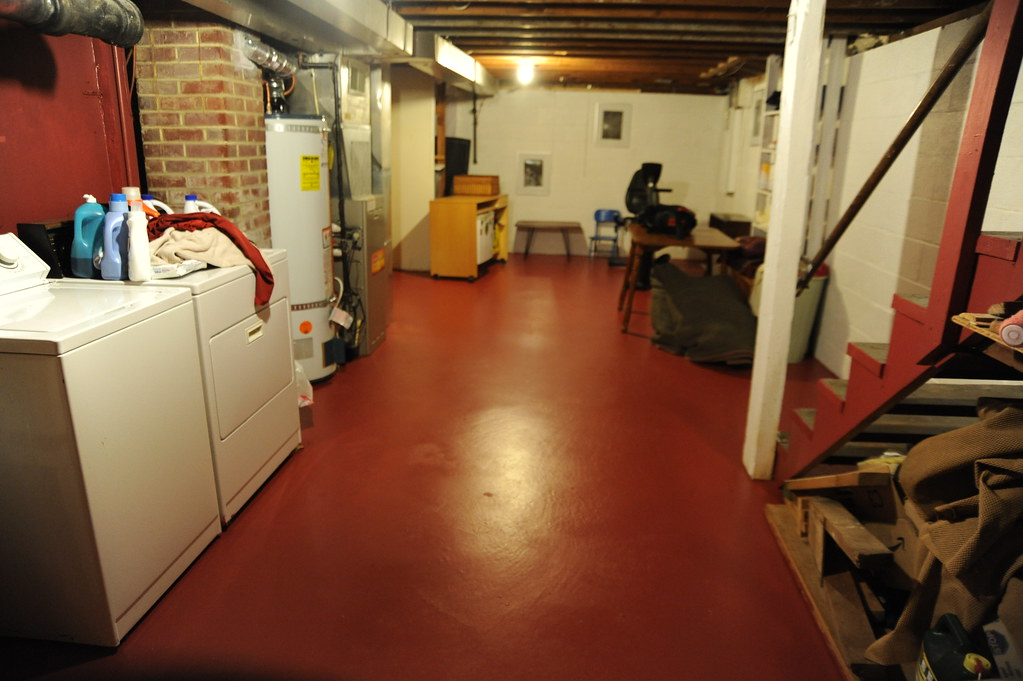 Freshly painted basement floor clean clothes rafters br  Flickr