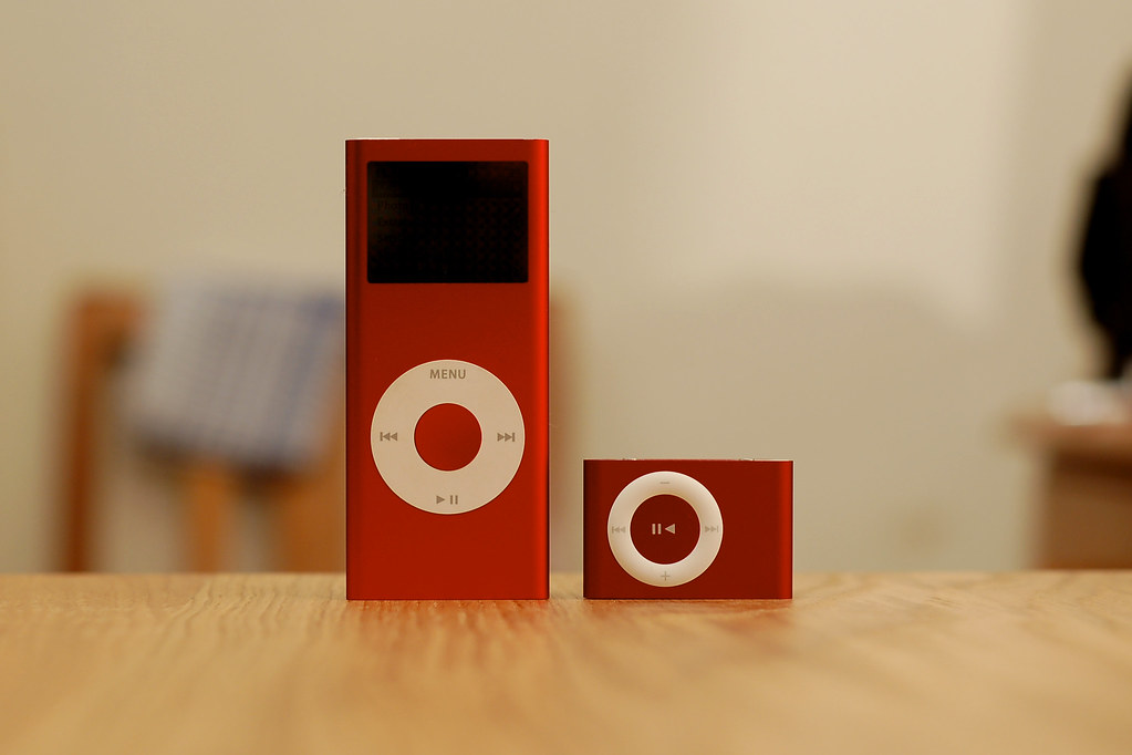 The new iPod Shuffle with the old iPod Nano Red  Fintan Darragh  Flickr