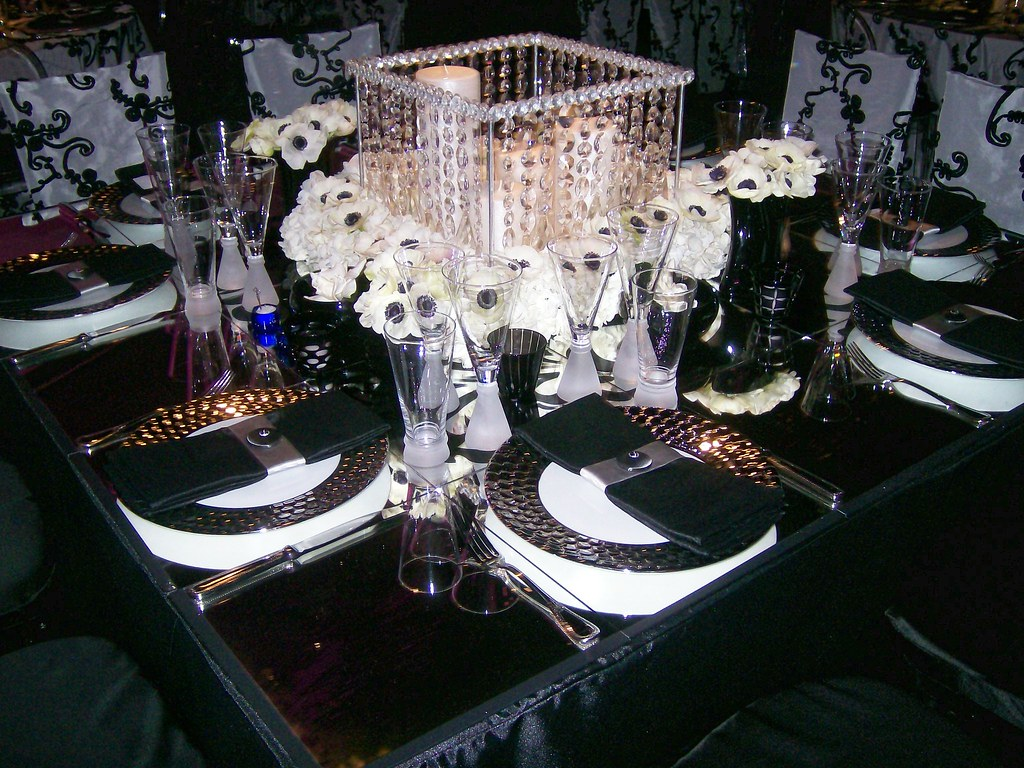 Black and White Wedding Table Centerpiece  Black and