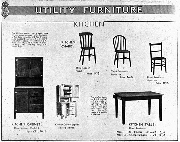 Utility Furniture Catalogue  Page from the 1943 Utility