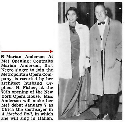 Marian Anderson and Husband Orpheus H Fisher at