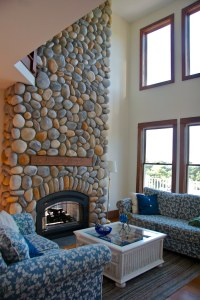 Cathedral Ceiling Living Room with Beach Stone Fireplace ...
