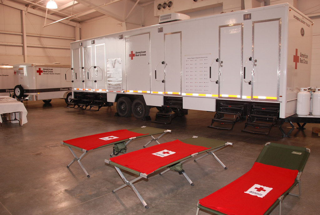 Red Cross Emergency Mobile Shower Trailer  During the