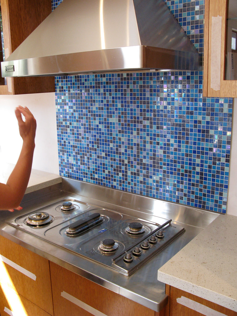 white kitchen appliances cabinet home depot kinds of blue: splashback tiles | multi-hued blue glass ...