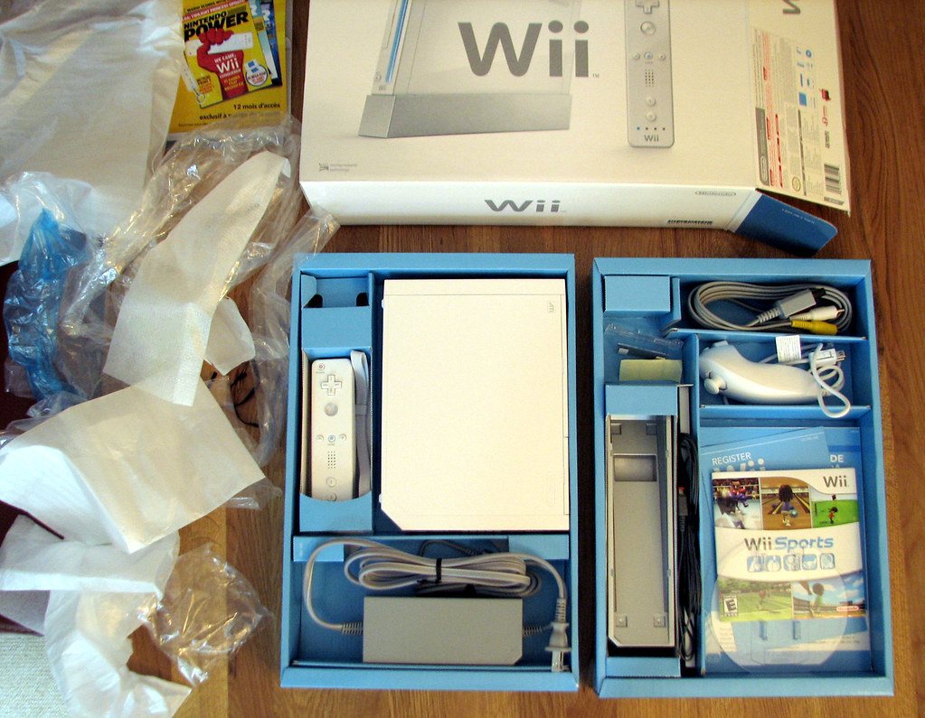 Wii unboxing  Distressingly much of the packaging is