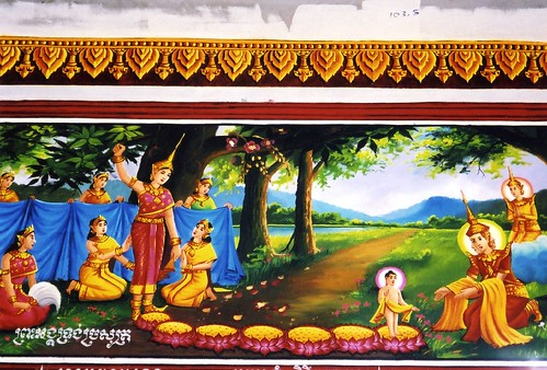 Temple painting of the Buddhas birth  He was born to a
