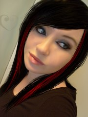 black red hair drawing