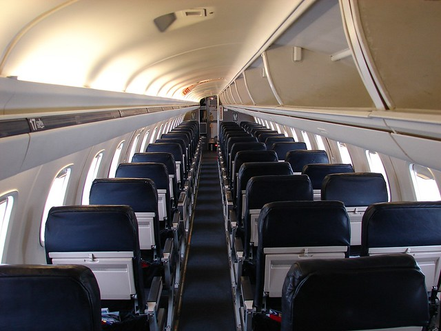 American Eagle EMB145 N640AE Interior  A view from the