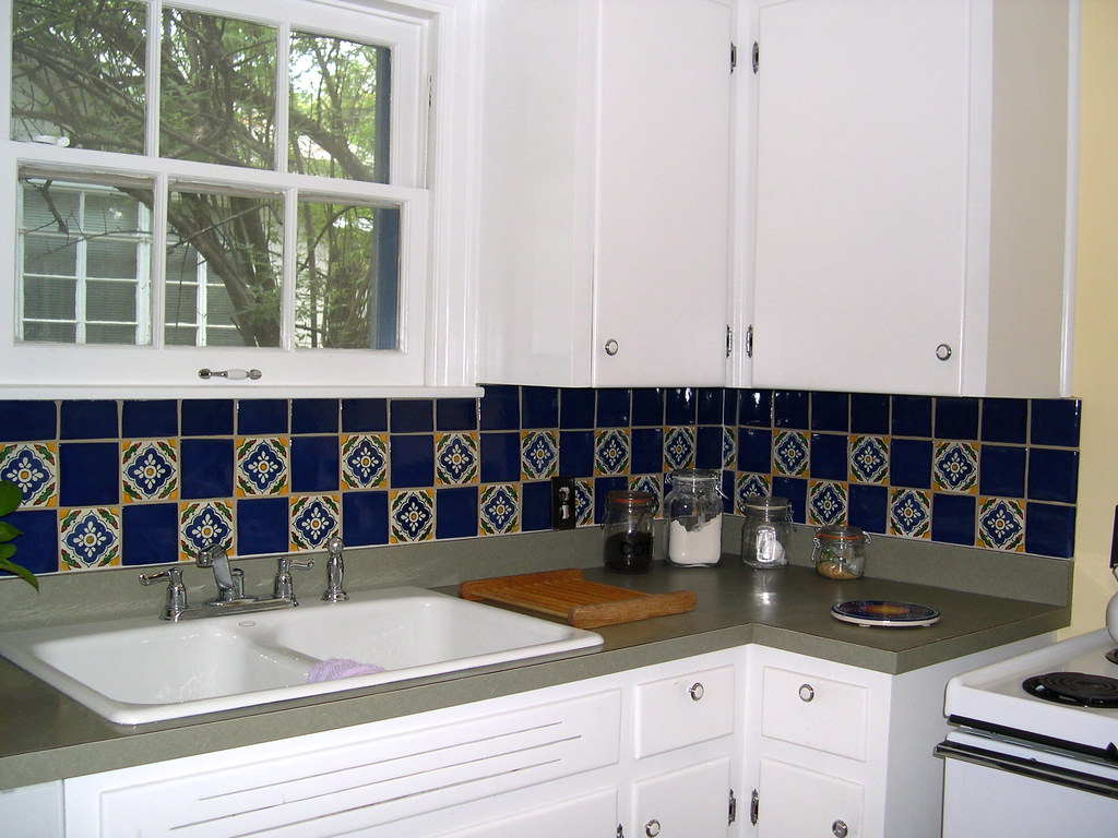 mexican backsplash tiles kitchen small tables and chairs tile cobalt blue talavera