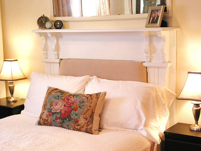Fireplace Mantle Headboard  The Bedroom in Linen  A new