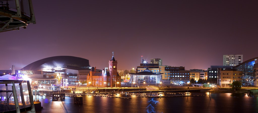 Cardiff At Night 2 Long Exposure The Same Photograph
