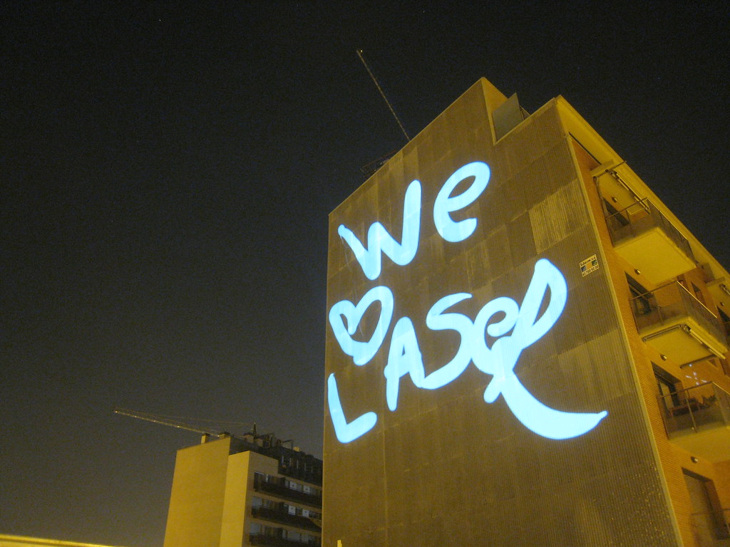 Laser Message on Building Barcelona  This text WE