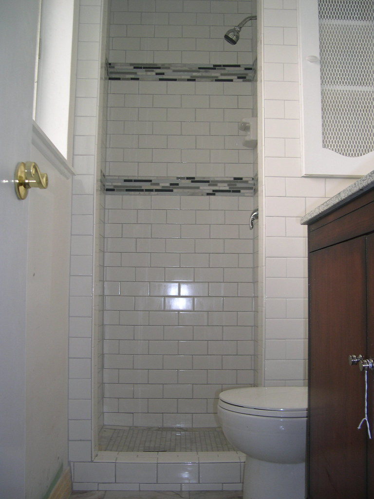 Subway tile shower  3x6 white subway tile from