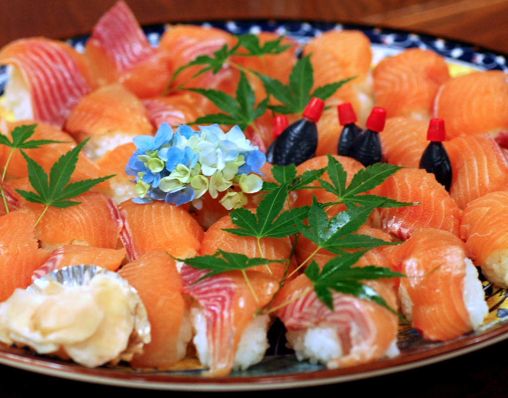 Sushi of Rainbow trout and 18 million dollar industry