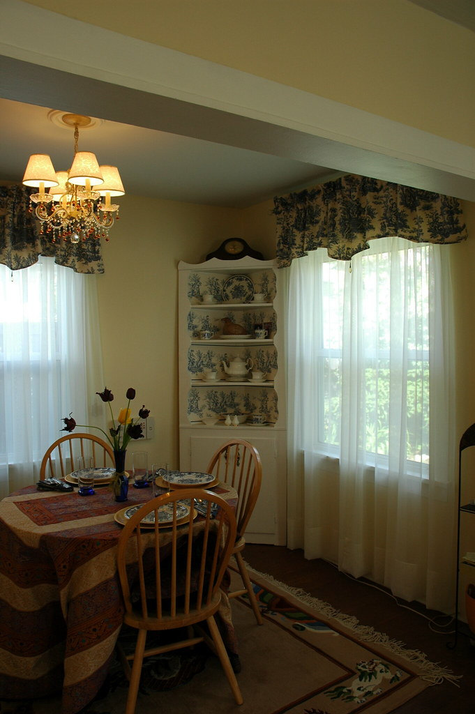 Dining room makeover fresh paint white trim toile curta