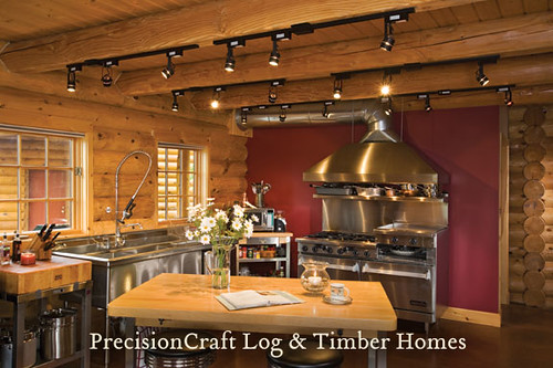 Custom Kitchen in a Milled Log Home  Located in Maine  b