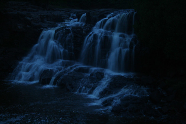Fall Wallpaper Hd Night Waterfall Shot As The Last Rays Of The Sun Were