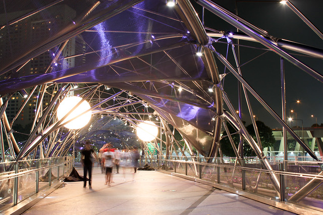 Walking along the Helix Bridge