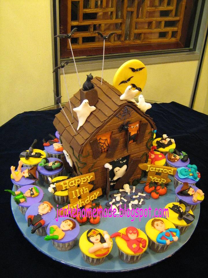 Haunted House Birthday Cake Amp Superheroes Theme Cupcakes