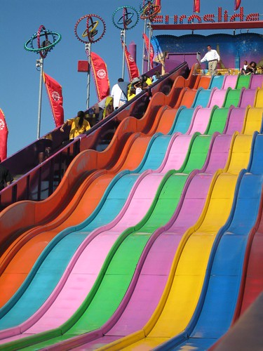 Rainbow slide  I love these giant slides where you ride