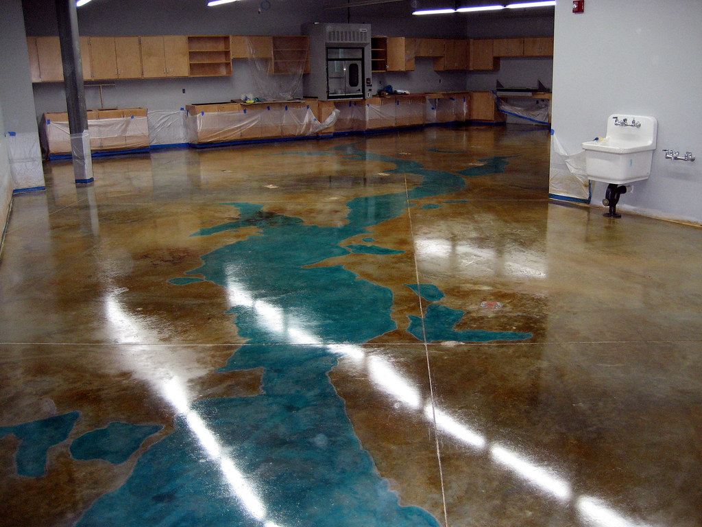 Stained Concrete Floor  This is part of the Thames River