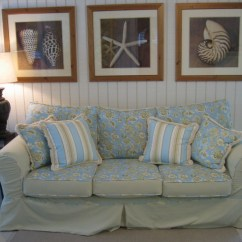 Beach House Sofa Slipcover Rococo Revival Robert Allen Floral And Stripe Linen Flickr By Designfolly Com