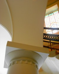 Upward Column, Stairway, And Stained Glass | Taken at the ...