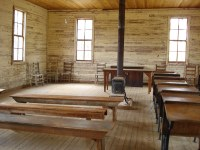 inside of old schoolhouse with wood stove | inside of ...