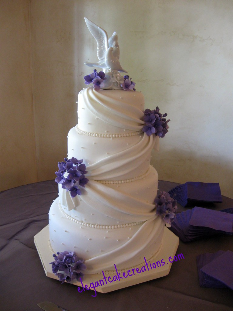 Hydrangea And Drapes Wedding Cake Fondant Covered With