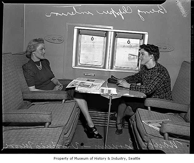 Boeing Clipper seaplane interior showing two women seated