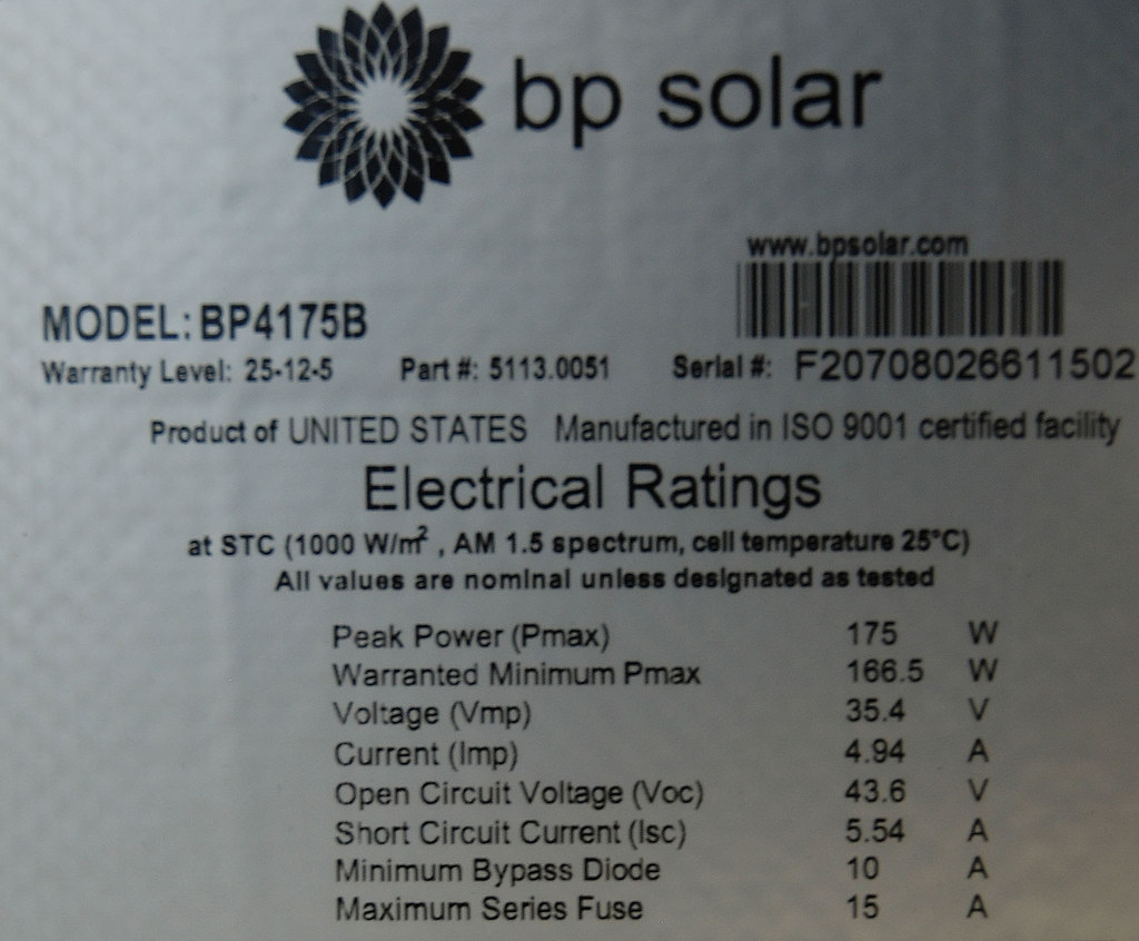bp solar PV module label  These bpsolar energyLux