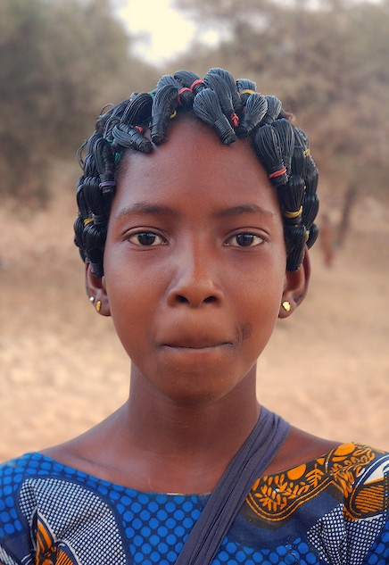 Schoolgirl With Wire Cable Hair Ornaments Hombori Mali