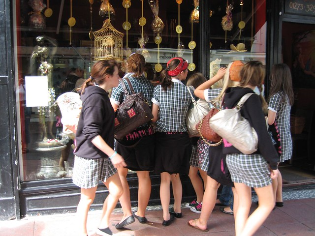French Schoolgirls Scoping Out the Chocowaccadoodah Window