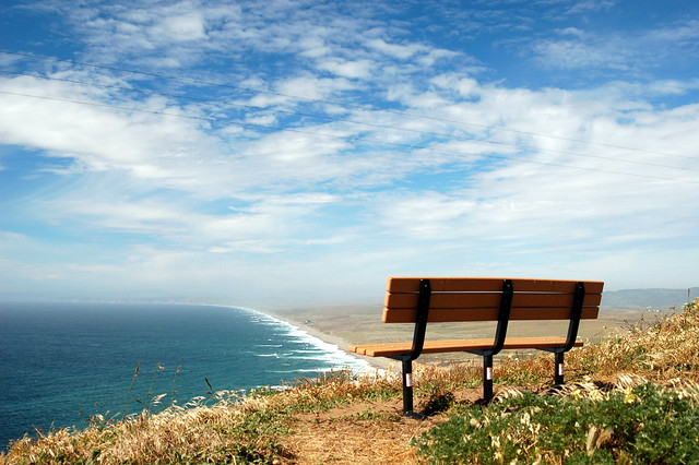 bench overlooking point reyes  A view over the Pacific