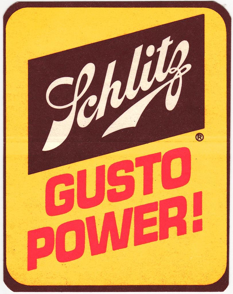 Schlitz Beer  Gusto Power Sticker  1970s  Heres a fun