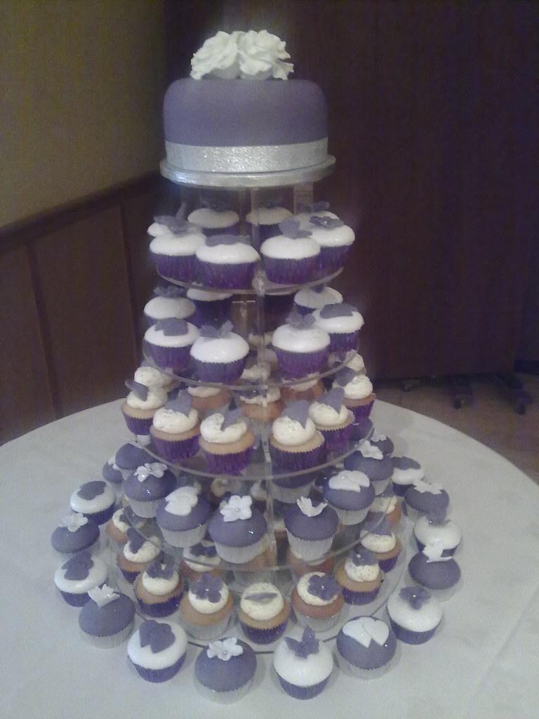Sharons Purple And Silver Wedding Cupcake Tower
