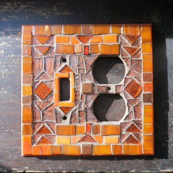 Copper and Orange Deco Switch Plate by Margaret Almon