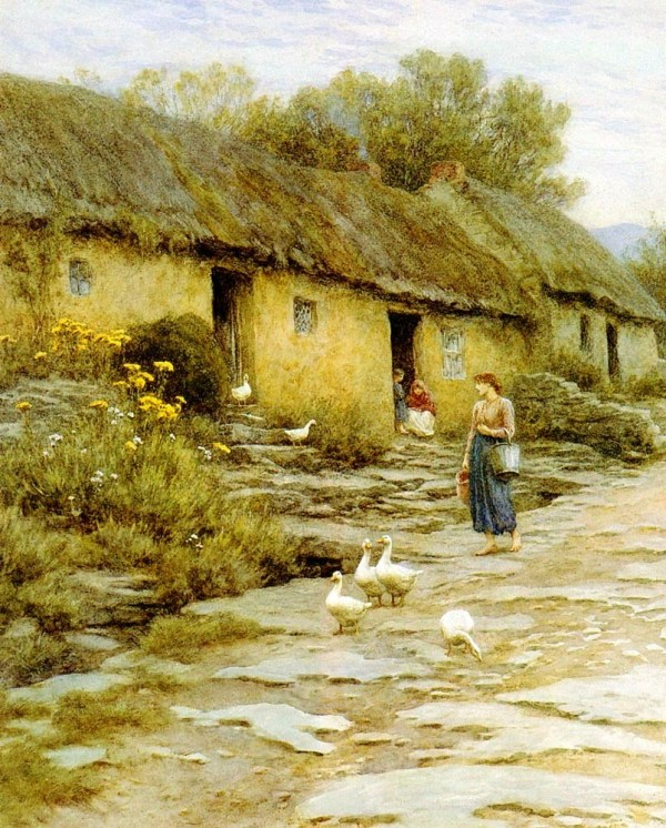 Beautiful Cottage Paintings Victorian Artist Helen