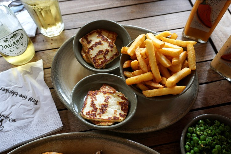 Gluten free chips, macho peas and grilled halloumi from Nando's - gluten free Nando's