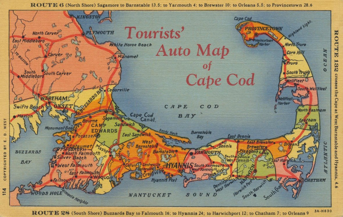 Tourists' Auto Map of Cape Cod - E. D. West Company - 1933