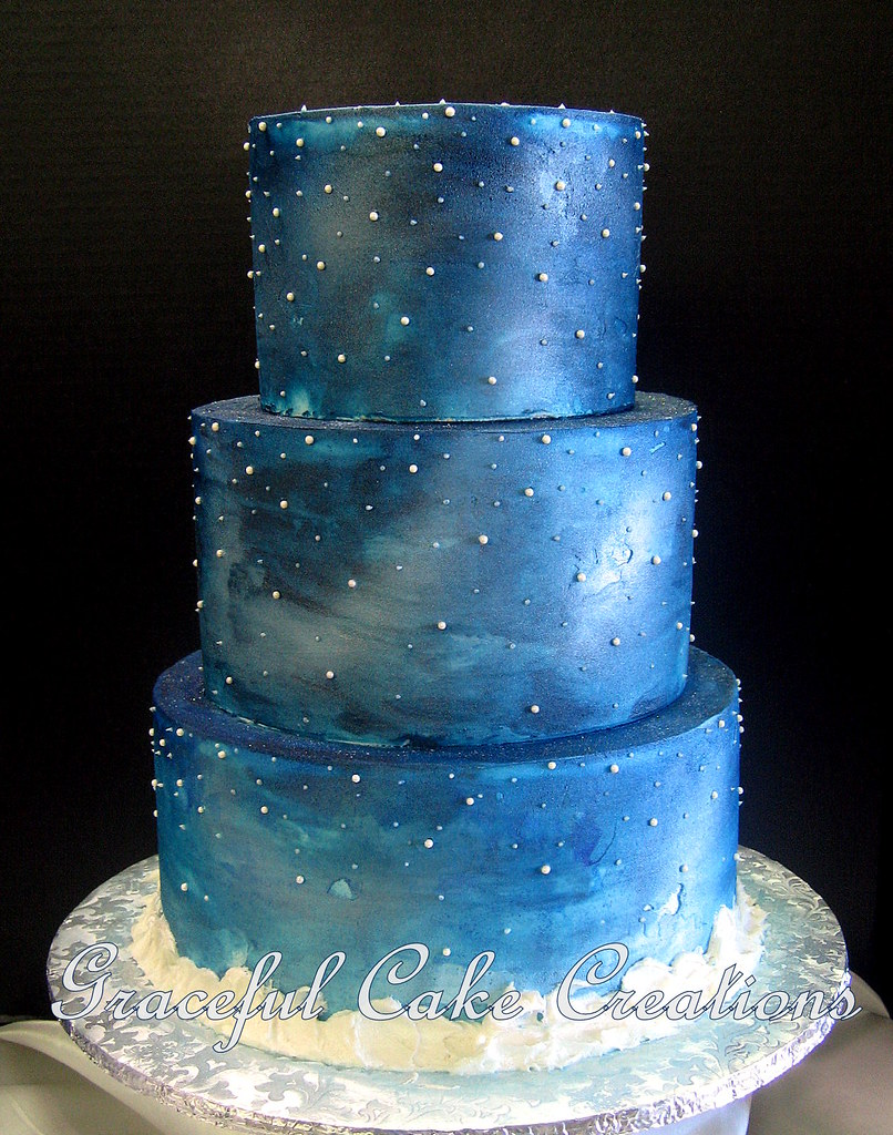 Elegant Starry Night Christmas Wedding Cake  Grace Tari