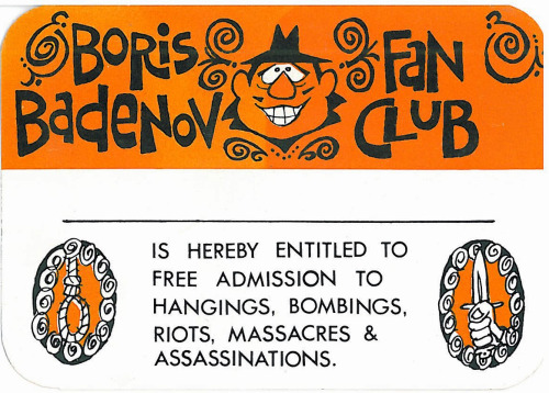 Boris Badenov Fan Club membership card - early 1960s