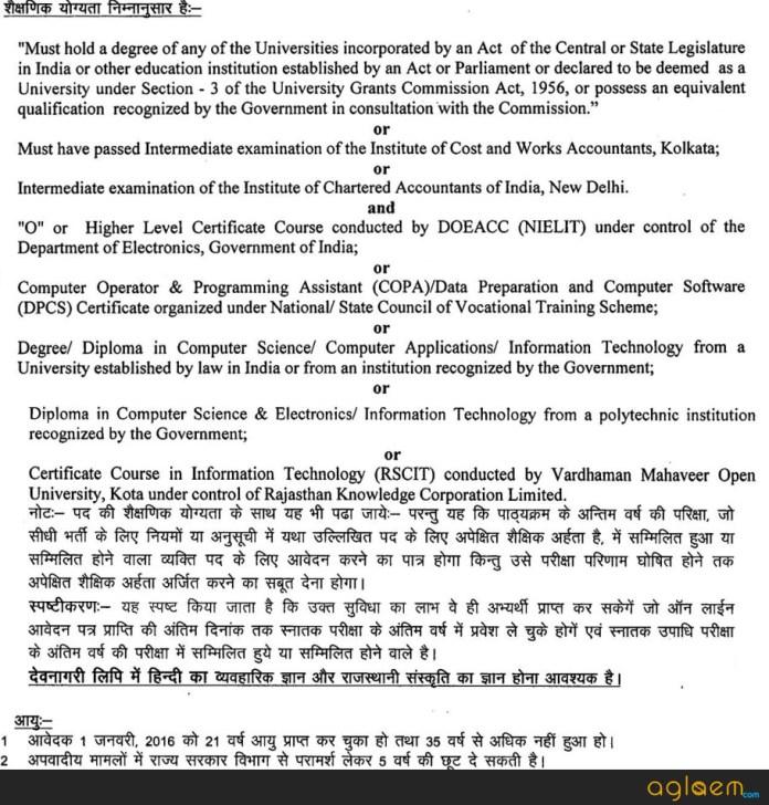 Rajasthan Junior Accountant Govt Jobs