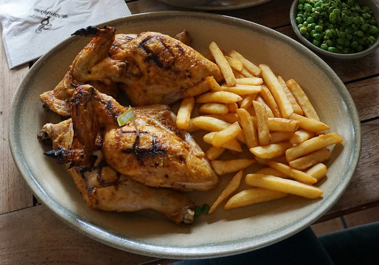 Lemon and herbs chicken, chips and macho peas from Nando's | Gluten free Shoreditch guide | Gluten free London | Brick Lane | Old Street | Spitalfields | Hoxton | East London
