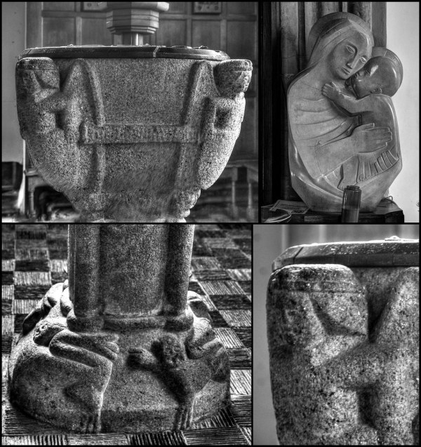 15th Century Font Details And Barbara Hepworth Sculpture