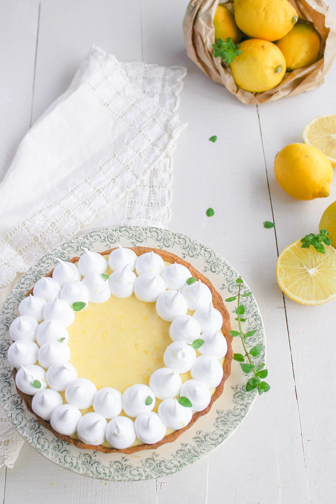 Tarte au citron meringuée à la bergamote {sans lait}