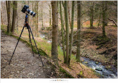 De 3LT EVO3 Vyv met een Canon EOS 1Dx en EF70-200mm f/2,8L IS II voor gebruik bij lange sluitertijden op de hoogste stand, maar met de middenkolom wel ingeschoven. Niet slecht voor een 3 kilogram wegende camera/objectief op een statief dat nog geen 2 kilogram weegt.