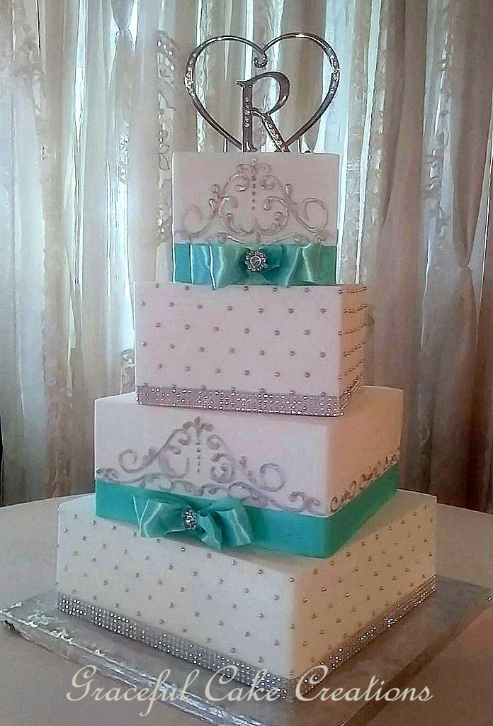 Elegant Square White Butter Cream Wedding Cake With Tiffan  Flickr