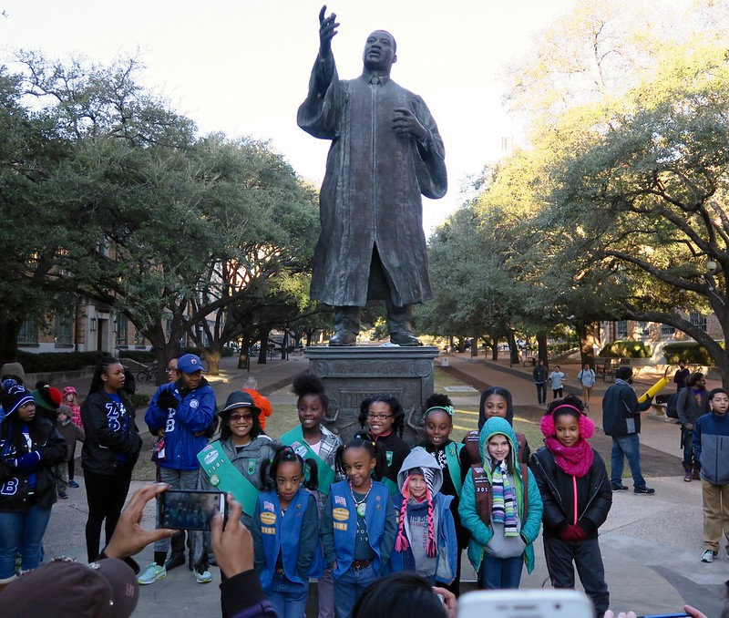 Girls scouts at the MLK statue on MLK Day