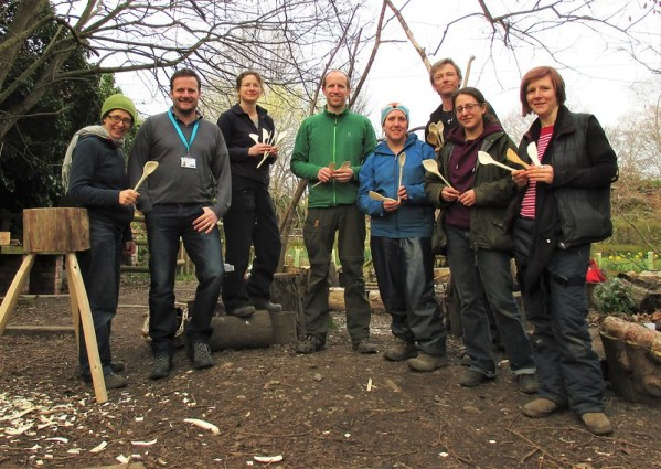 Spoon carving Forest School leaders